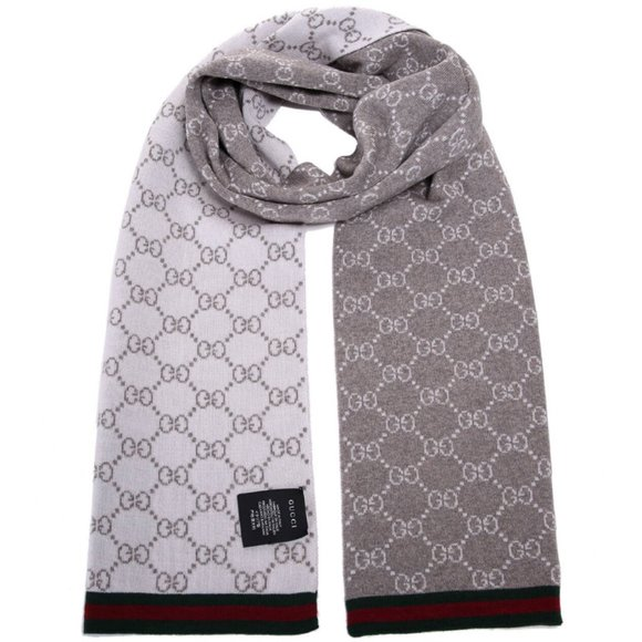 NEW Gucci Unisex Taupe Gray Wool Reversible GG